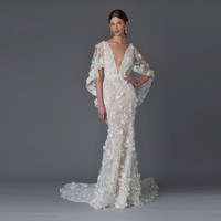 Sexy Boho Wedding Dresses 2017 Scoop Sheer Front Lace Flower Beaded Mermaid Wedding Dresses with Cape Robe de Marage MA04