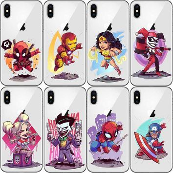 Deadpool Dead pool Taco Cartoon Harley quinn Batman Catwoman Superman Cover for iPhone 5 5s SE 6 6s 7Plus X XR XS MAX  Clear Hard plastic Case AT_70_6