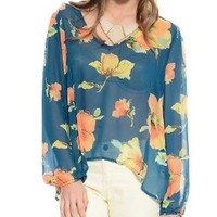 Blooming Sheer Long Sleeve Blouse Teal L Floral Forever