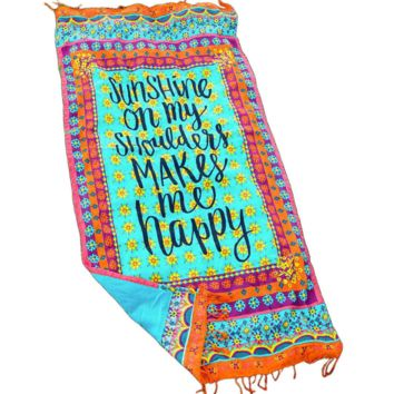 Blue and green at the end of the letter printed at both ends of the tassel rectangular beach mat yoga mat shawl towel blanket
