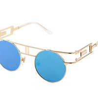 Blue Vintage Round Sunglasses with Gold Trim : 100% UV Protection, Steampunk Sunglasses, Festival Fashion, Mirrored Sunglasses