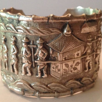 Antique Vintage Chinese Export Silver Repousse Cuff Bracelet Hallmarked
