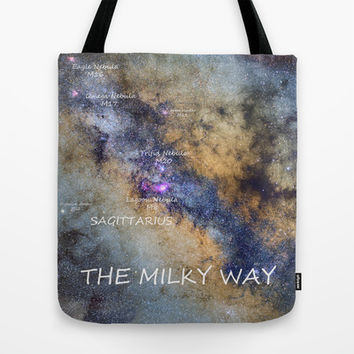 Star map version: The Milky Way and constellations Scorpius, Sagittarius and the star Antares. Tote Bag by Guido Montañés