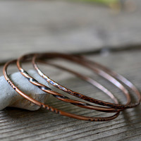 Stacking copper bangles - copper bangle bracelets - hammered copper bangles - set of three - copper anniversary gift - by Alery
