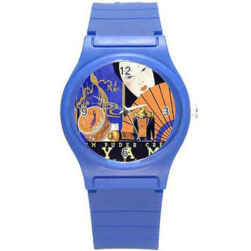 Oriental Art Poster on Blue Plastic Watch...Great for Art & Color Lovers