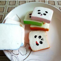 1PC Cute Kawaii Sliced Squishy Bread Soft Toast Phone Straps Bag Parts & Accessories Squishy Bear Printed Key Chains