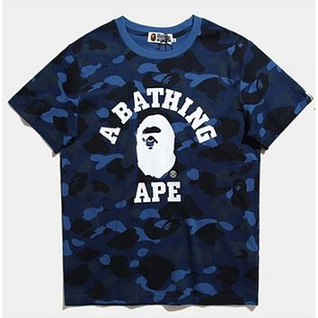 Bape Aape Fashion Summer New Letter Print Couple Camouflage T-Shirt Top Blue