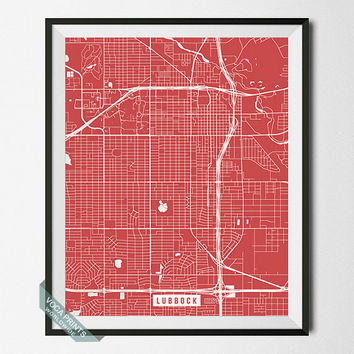 Lubbock Poster, Texas Poster, Lubbock Print, Texas Print, Lubbock County, TX, Street Map, Wall Print, Back To School