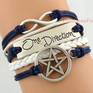 Infinity bracelet,One Direction bracelet,pentagram bracelet,Charm Bracelet,rope bracelet,Friendship christmas Gift--personalized