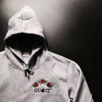 GUCCI : Champion Fashion Casual flower rose print sweater grey hoodie pullover Grey