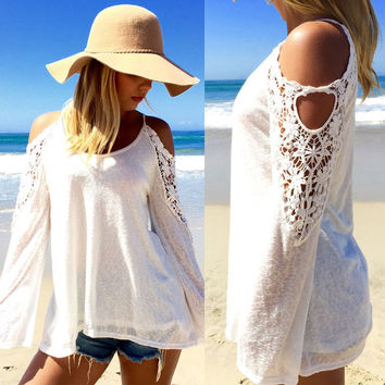 New 2016 Spring Summer  Women Blouses Off Shoulder Loose Sexy Lace Blouse Long Sleeve Beachwear