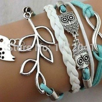 FD1826 Good looking Antique Silver Infinity Double Owls Bird Charms Leather Wrap Bracelet