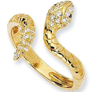 Gold Plated Sterling Silver Cubic Zirconia Snake Ring by Cheryl M