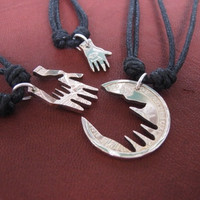 Interlocking Necklaces, Three Hands, Family Jewelry, BBF, Love Coin