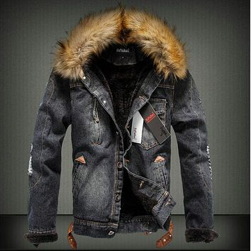 Men's Denim Hoodie Fur Collar Hip Hop Style Jacket
