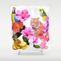 Tropical Tiger with Hibiscus, Orchids, Parrot And Pineapple Shower Curtain by Daphsam | Society6