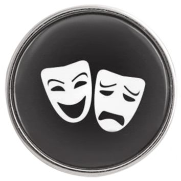 "Chunk Snap Charm Drama Tragedy Comedy Masks 20mm 3/4"" Diameter"