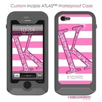 Personalize your Incipio Waterproof Case for iPhone 5 - Stripes Glitter Initial