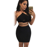 New Sexy Halter sleeveless dew waist sexy tight package hip dress two-piece