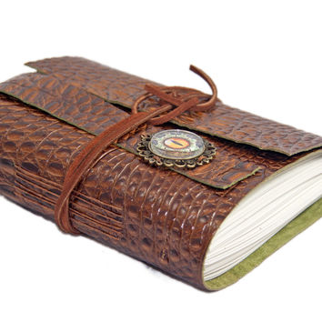 Brown Alligator Embossed Leather Journal - Leather Journal - Blank Journal - Travel Journal - Art Journal - Vacation Journal - Eye Cameo -