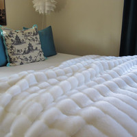 "The Ultimate Luxury White Mink Faux Fur Throw Blanket 60"" x 72"""