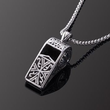 Stainless steel whistle pendant necklace Vintage Silver Color Whistle Necklaces Male Female Personality Punk Jewelry Gift 2018