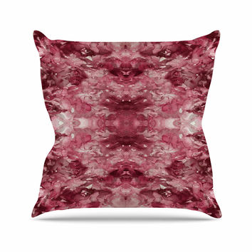 "Ebi Emporium ""Tie Dye Helix, Red "" Burgundy Abstract Throw Pillow"