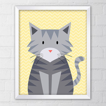 Cute Grey Cat Nursery Art Print, 8x10 Printable Digital file, Wall art, Nursery Print, Gray, Yellow, Kitten, Illustration, printable art