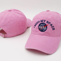 Pink NASA I Need My Space Embroidered Cotton Baseball Sports Cap Hat
