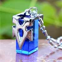 [PCMOS] 2017 New Anime Sword Art Online SAO Kirito Asuna Yuki Blue Metastasis Crystal Necklace Free Shipping 16070703