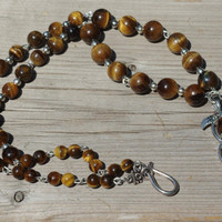 Tiger Eye Necklace ~ Semi Precious Stones ~ Three Peas in a Pod Necklace ~ Stone Necklace ~ One of a Kind ~ Healing Stones ~ Natural Stones