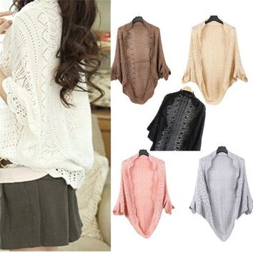DCCKIX3 WL Ladies Crochet Knit Shawl Batwing sleeve Hollow Out Shrug Cardigan Top Sweater