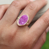 Pink Druzy Cocktail Ring