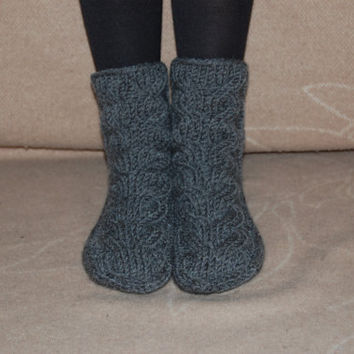 Hand knit socks, wool socks, Handmade Knitted Wool Socks, knitted slippers, Wool socks for women