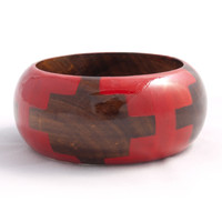 Wooden Wilderness Bangle Red - Mata Traders