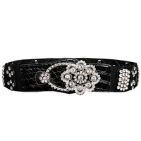 KLV 2017 High Recommend New Design  Atlas Western Cowgirl Bling Cowgirl Leather Belt Clear Rhinestone Crystak New#20