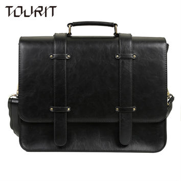"TOURIT New Design Women Messenger Bags Vintage PU Leather Handbag Crossbody Satchel Briefcase Bolsas Femininas for 14.7"" Laptop"