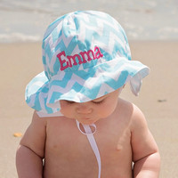 Personalized Blue and White Chevron Striped Baby and Toddler Girls Sun Hat
