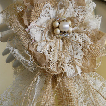 1 Large Handmade Paper, Lace and Burlap Flower Bow for weddings, bouquet making, cake topper, table decor