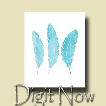 ON SALE Blue Feathers Nursery Kids Room Decor Art Printable Instant Download Wall Decor W14083-2