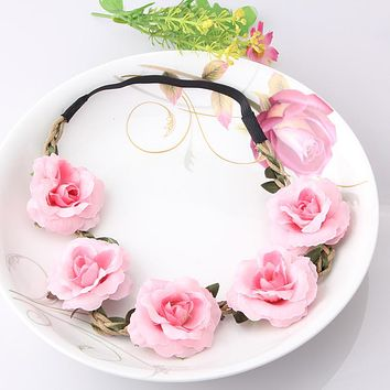 Bohemia Handmade Floral Headband Women Flower Crown Wedding Garland Hair Accessories Girls Flower Hairband Bridal Headdress