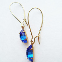 Vintage Earrings Half Moon Glass Dangles Sapphire Blue Accessories Gift Idea For Her Stocking Stuffer Under 15