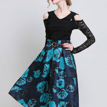 Floral Print High Waisted Skater Midi Skirt