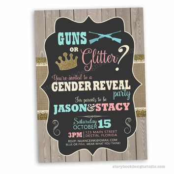 Guns or Glitter Gender Reveal Invitations