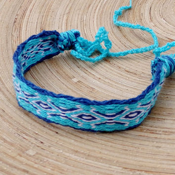 card weave bracelet, weaving woven colorful blue white wrist band, ethnic women men friendship bracelet, handmade boho jewelry, jewellery
