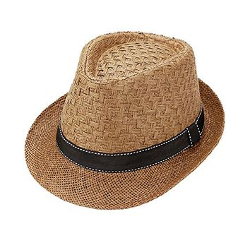 Beatnix Fashions Brown Stitch Ribbon Trim Straw Fedora Hat
