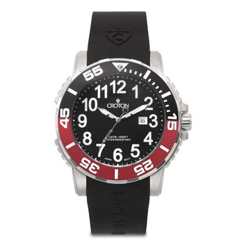 Croton Mens Stainless Steel Silvertone Date Watch