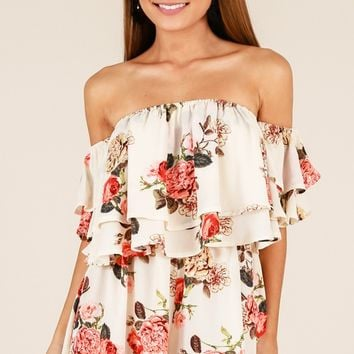 Be My Guest playsuit in ivory floral Produced By SHOWPO