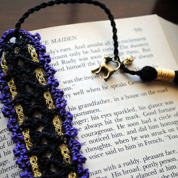 Feline familar bookmark, crochet lace bookmark with a long tassel, black, purple, cat charm, gold ribbon