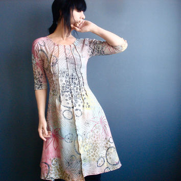 Spring Forward - iheartfink Handmade Hand Printed Womens Spring Summer Fashion Pastels Wearable Art Print Half Sleeves Jersey Dress